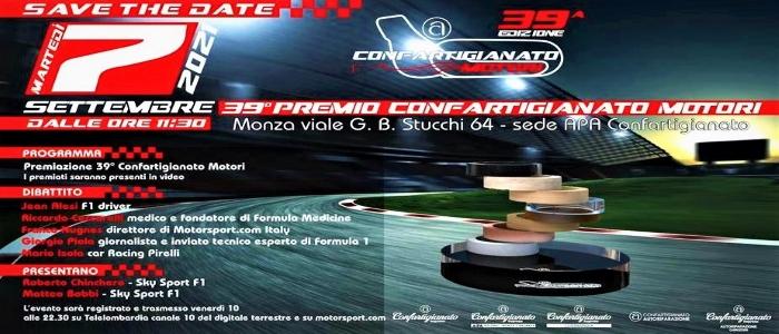 EVENTI – Il 7 settembre Confartigianato Motori premia i protagonisti della F1 e i 'campioni' dell'artigianato